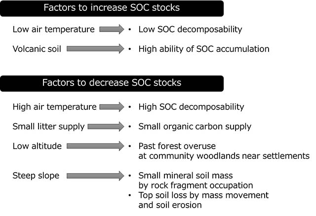 Figure 1. Factors determining SOC stocks in Japanese forests