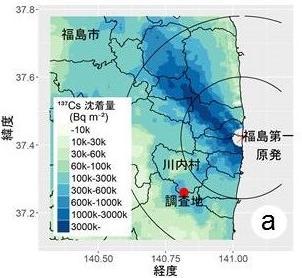 図1(a)福島県川内村調査地の位置の地図