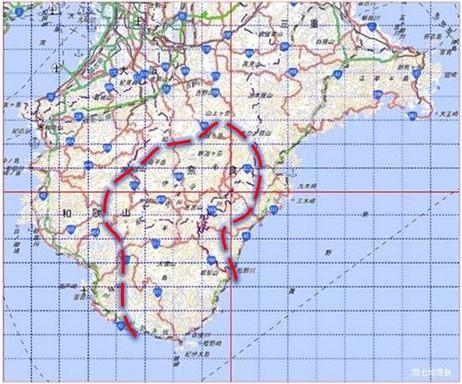 クマノザクラの推定分布域の図